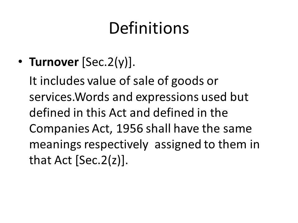 Definitions Turnover [Sec.2(y)].